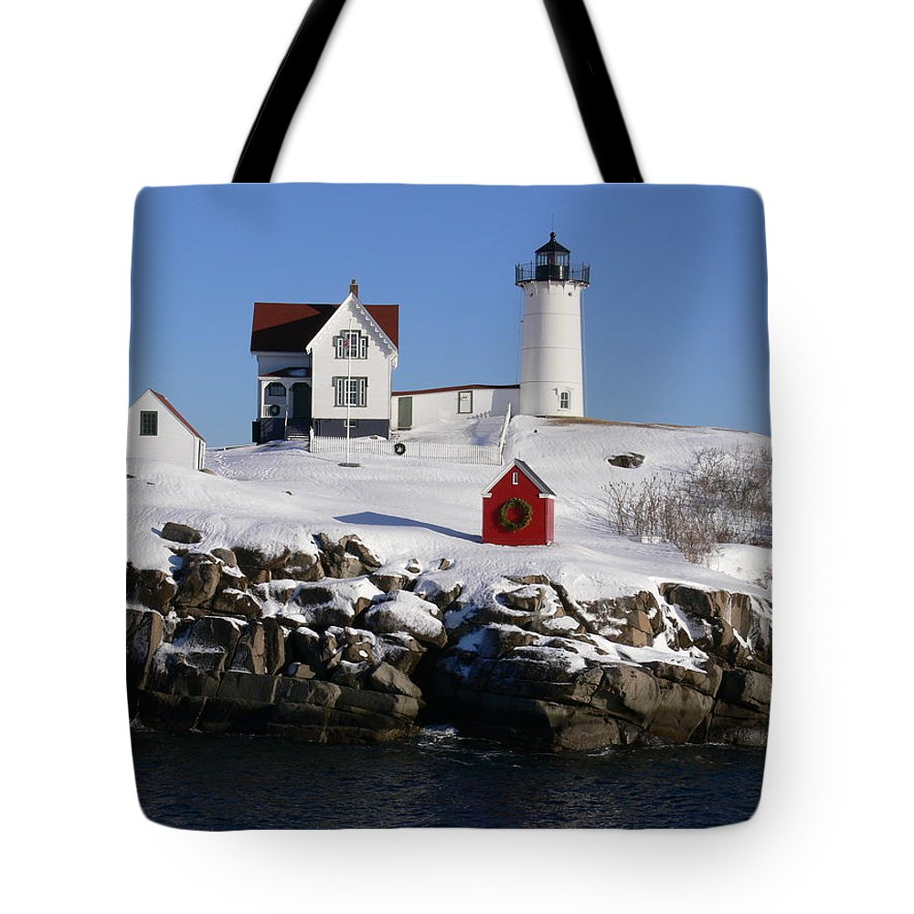 Nubbles Lighthouse Tote Bag featuring the photograph Nubbles Lighthouse by Nancie DeMellia