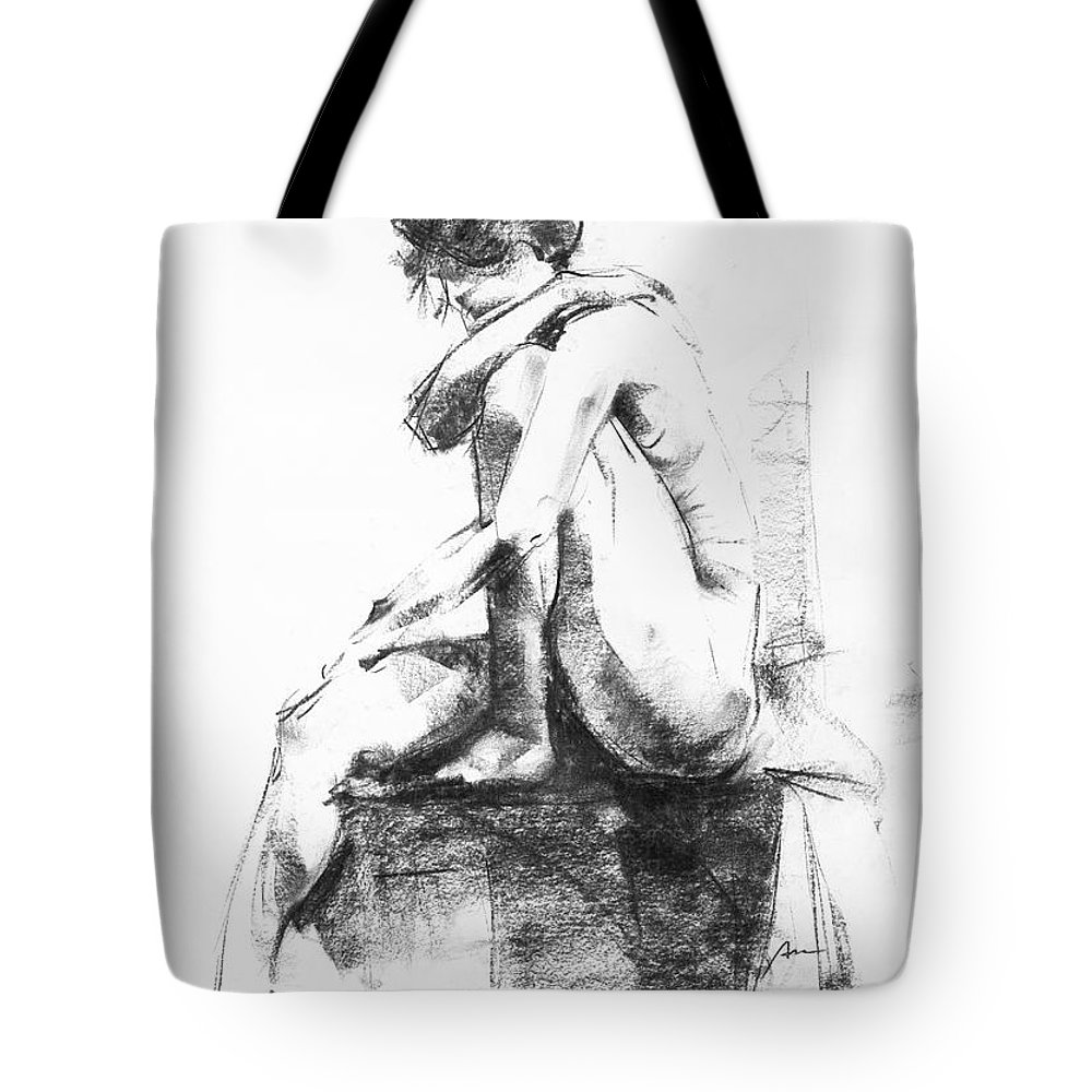 Nude Tote Bag featuring the drawing Nude 11 by Ani Gallery