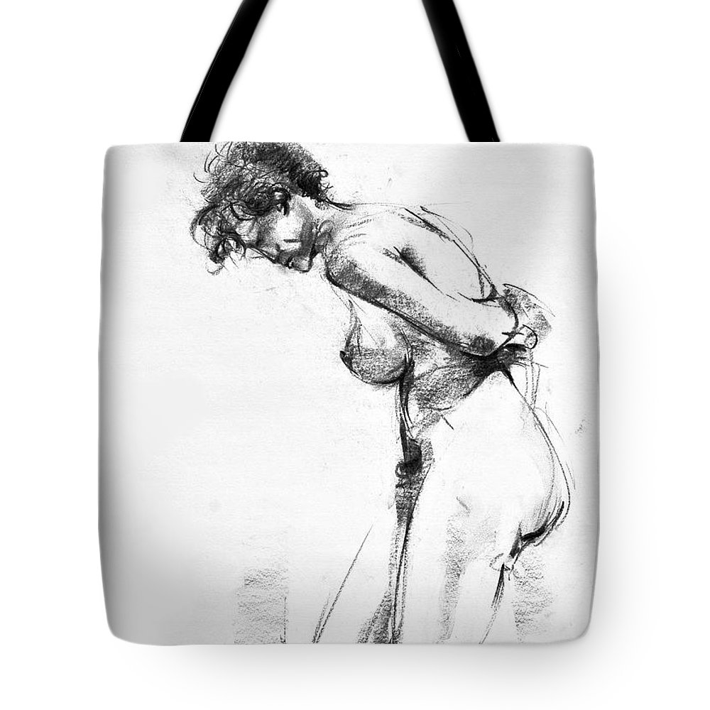 Nude Tote Bag featuring the drawing Nude 2 by Ani Gallery