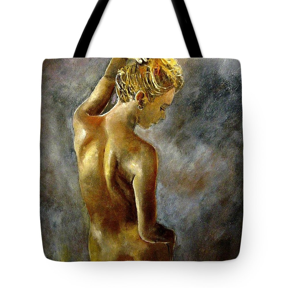 Girl Nude Tote Bag featuring the painting Nude 27 by Pol Ledent