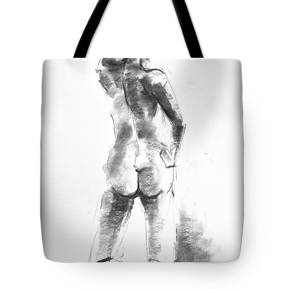 Nude Tote Bag featuring the drawing Nude 44 by Ani Gallery
