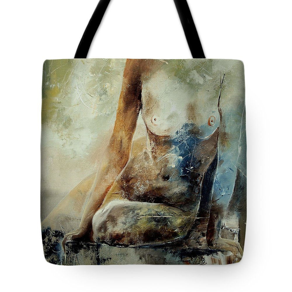Nude Tote Bag featuring the painting Nude 560408 by Pol Ledent