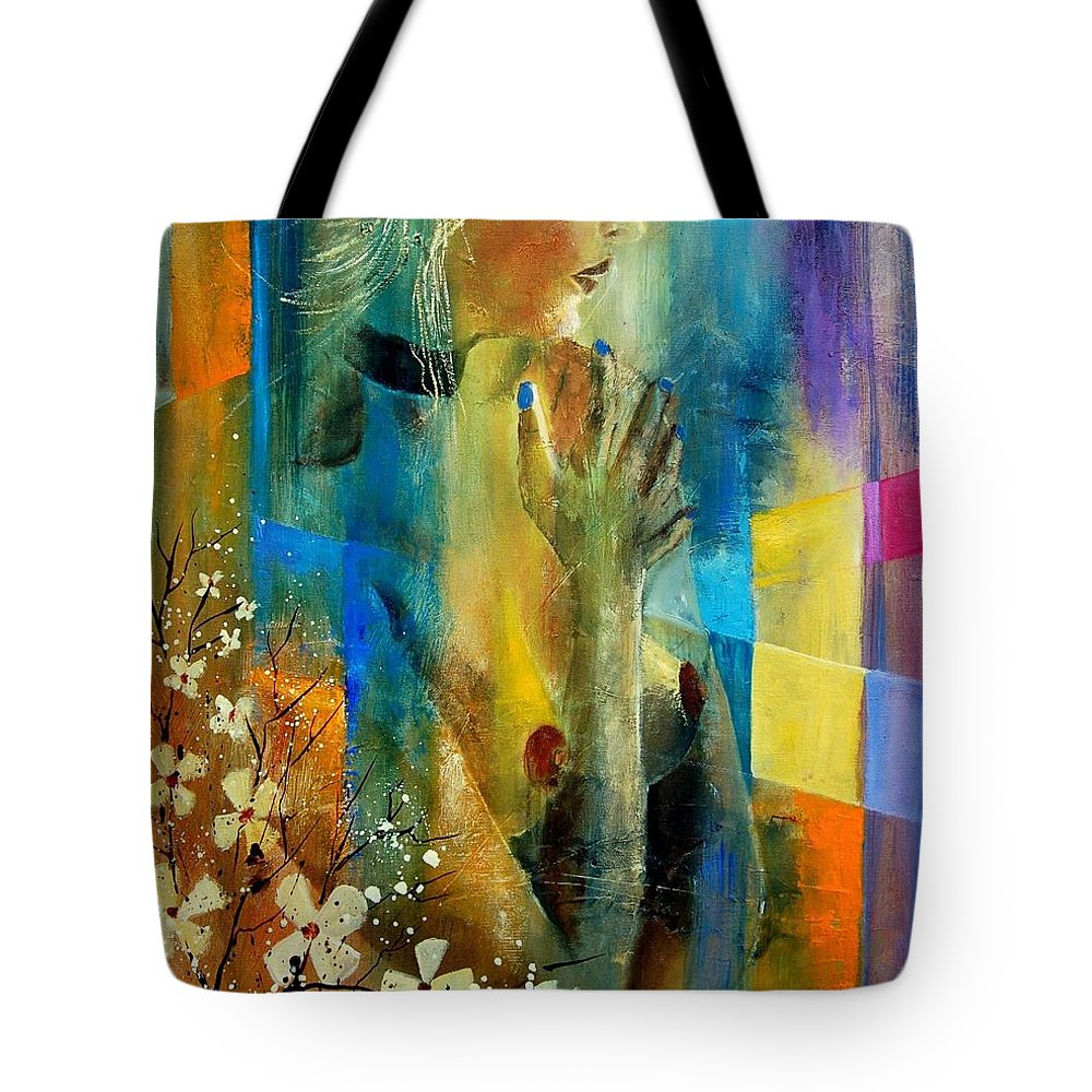 Nude Tote Bag featuring the painting Nude 5609082 by Pol Ledent
