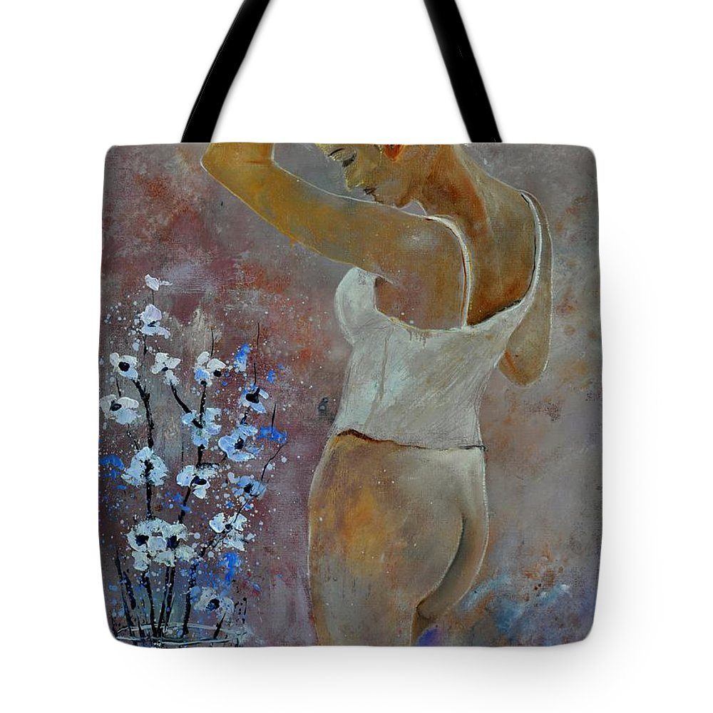 Nude Tote Bag featuring the painting Nude 570121 by Pol Ledent