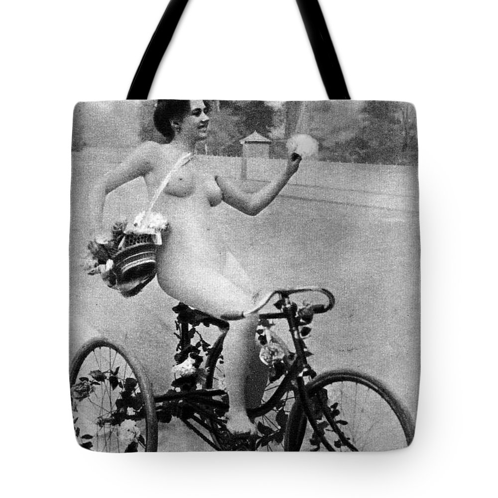 1900 Tote Bag featuring the photograph Nude And Bicycle, C1900 by Granger