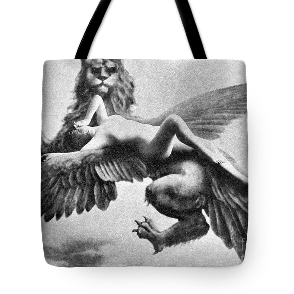 Tote Bag featuring the painting Nude And Griffin, 1890s by Granger
