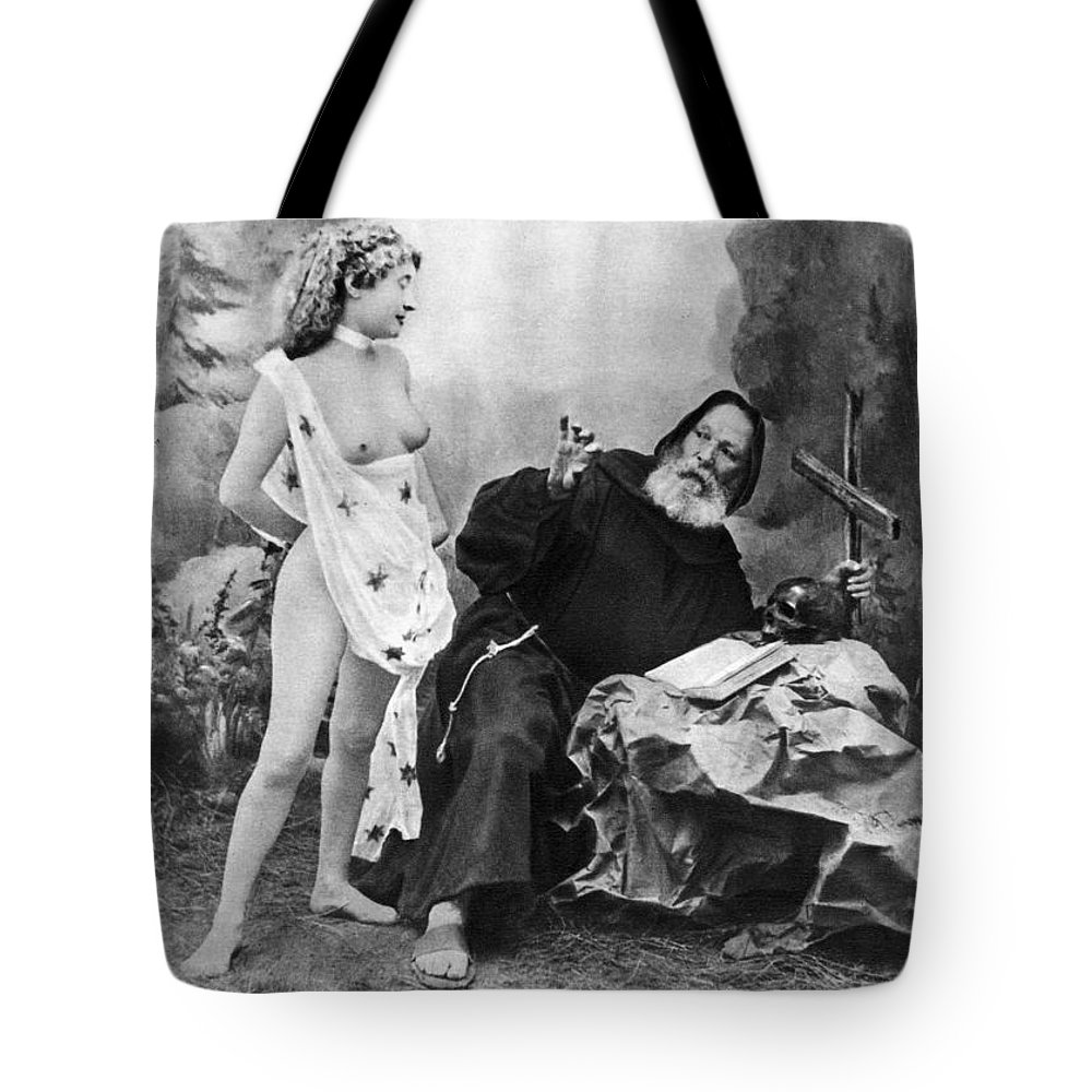 1895 Tote Bag featuring the photograph Nude And Monk, C1895 by Granger