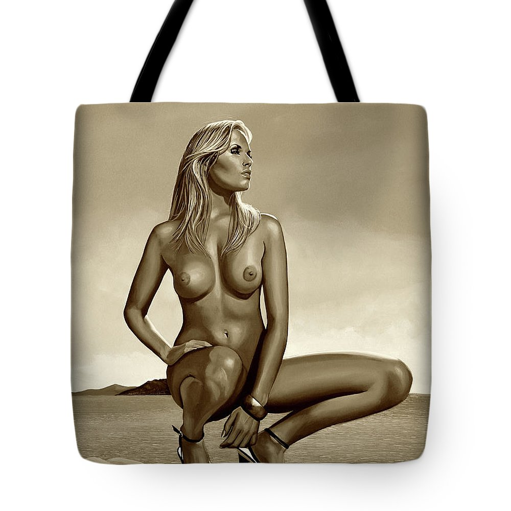 Nude Mixed Media Tote Bags