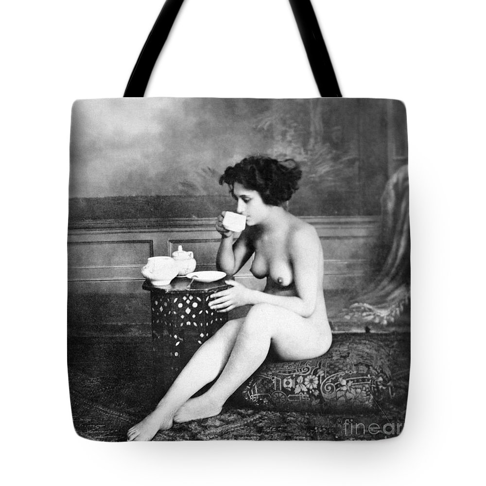 19th Century Tote Bag featuring the painting Nude Drinking Tea, 19th Ct by Granger