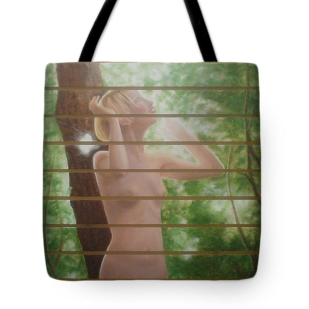 Realistic Tote Bag featuring the painting Nude Forest by Angel Ortiz