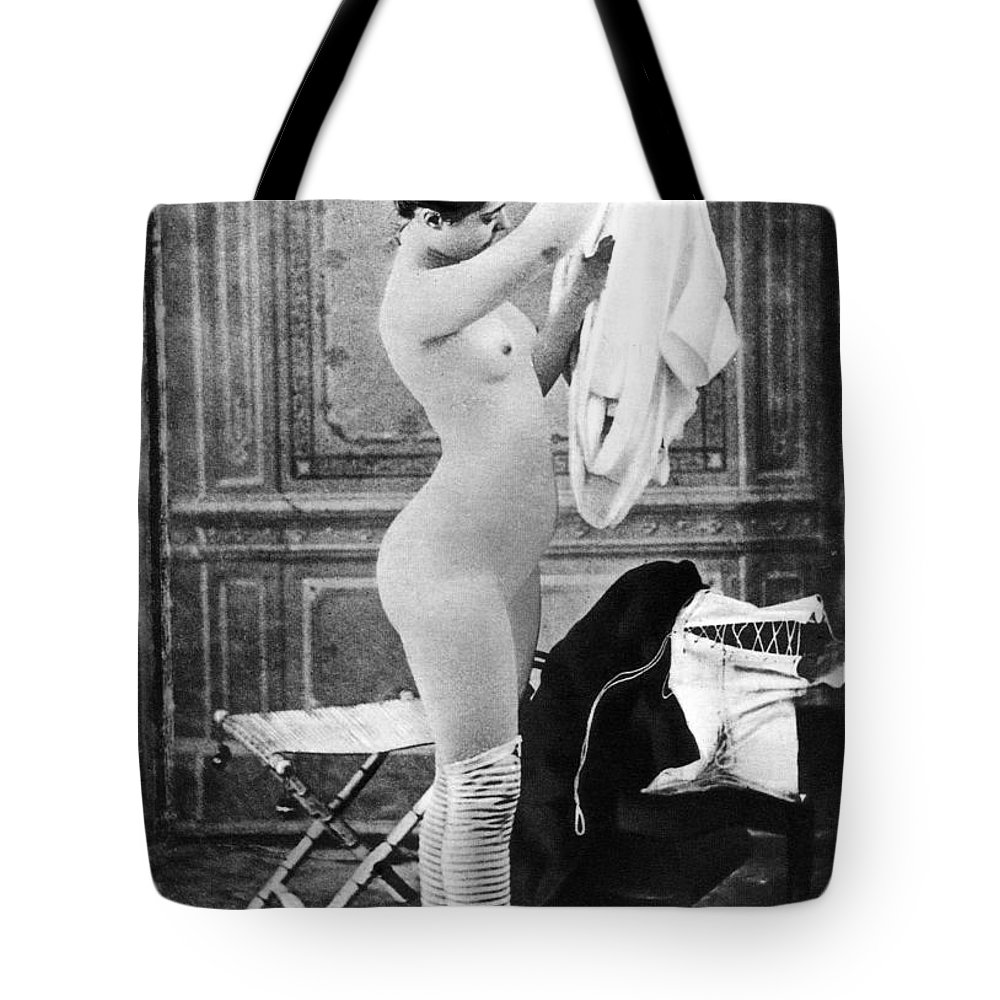 1880 Tote Bag featuring the photograph Nude In Stockings, C1880 by Granger