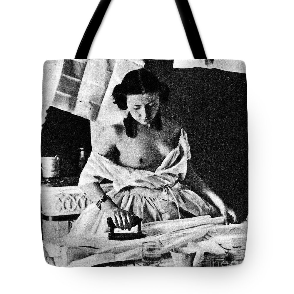 Tote Bag featuring the painting Nude Ironing, C1861 by Granger