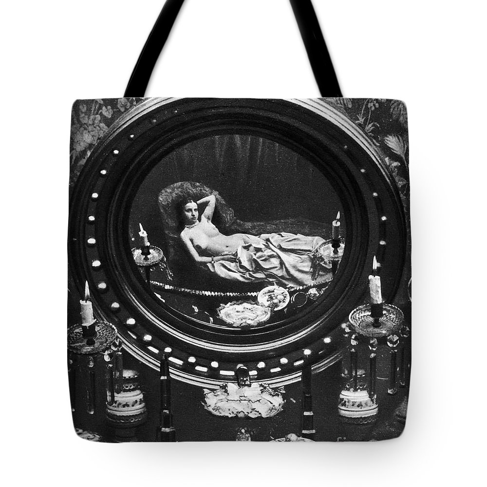 1860 Tote Bag featuring the photograph Nude Reflected In Mirror by Granger