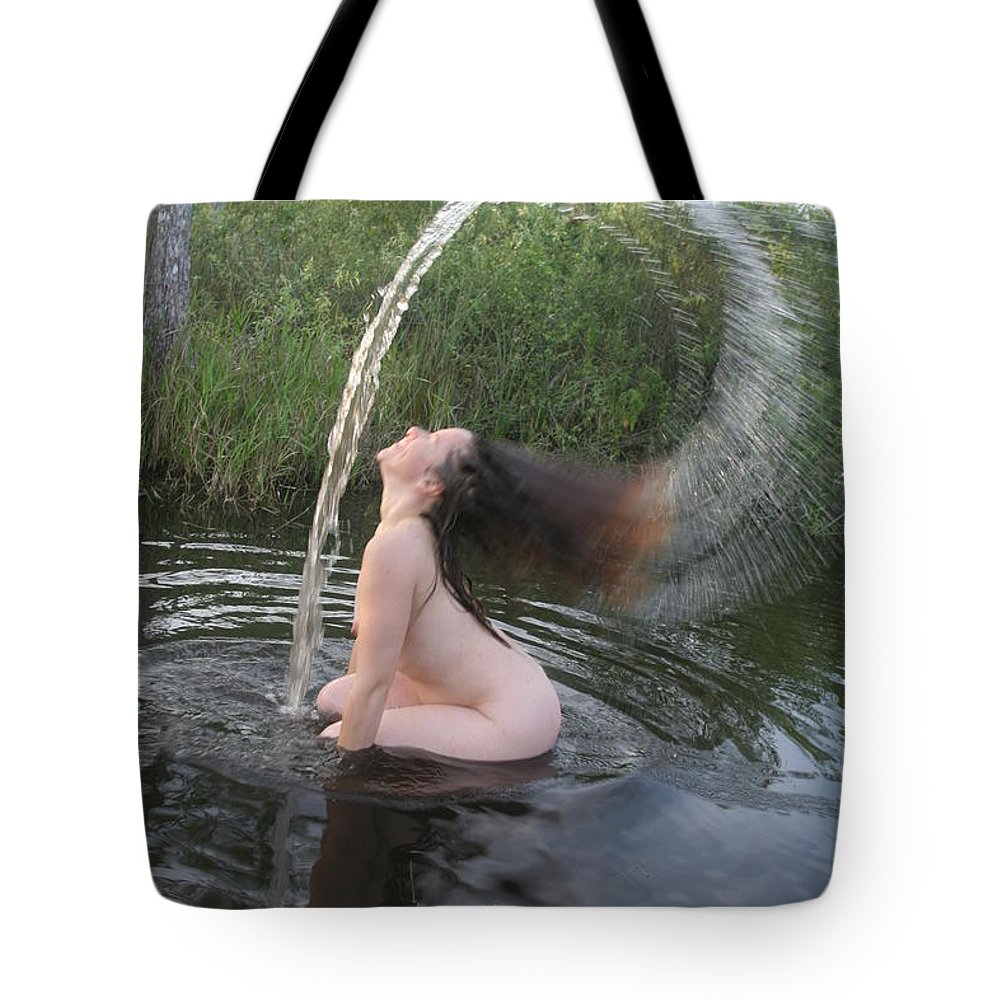 Nude Waterfall Florida Everglades Lucky Cole Tote Bag featuring the photograph Nude Waterfall by Lucky Cole