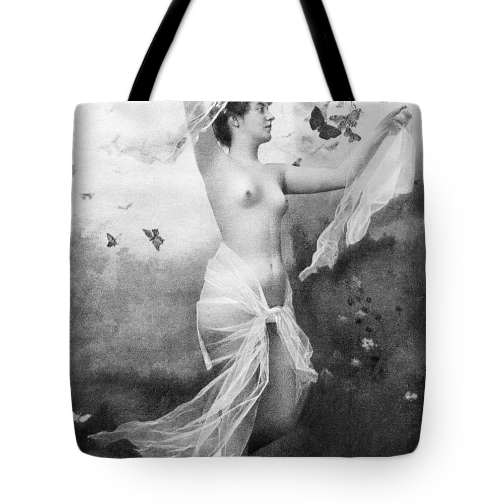 1900 Tote Bag featuring the painting Nude With Butterflies by Granger