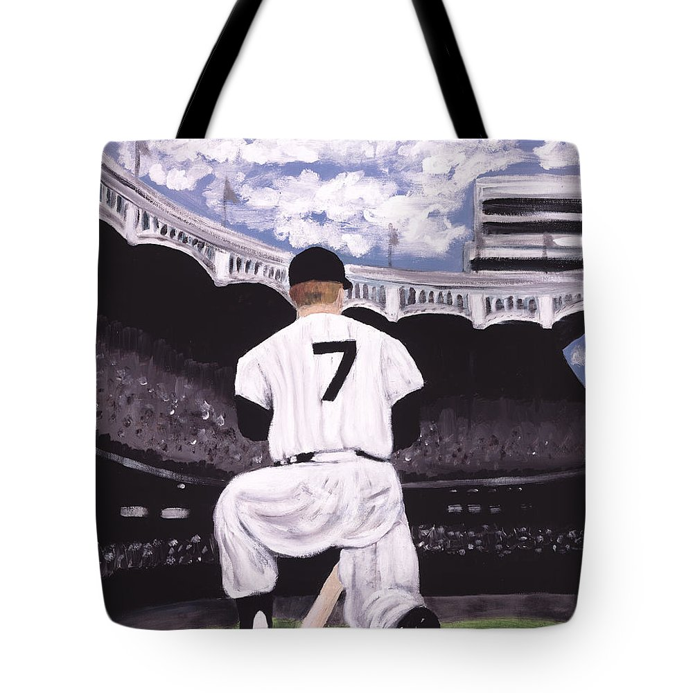 Baseball On Canvas Tote Bag featuring the painting Number 7 by Jorge Delara