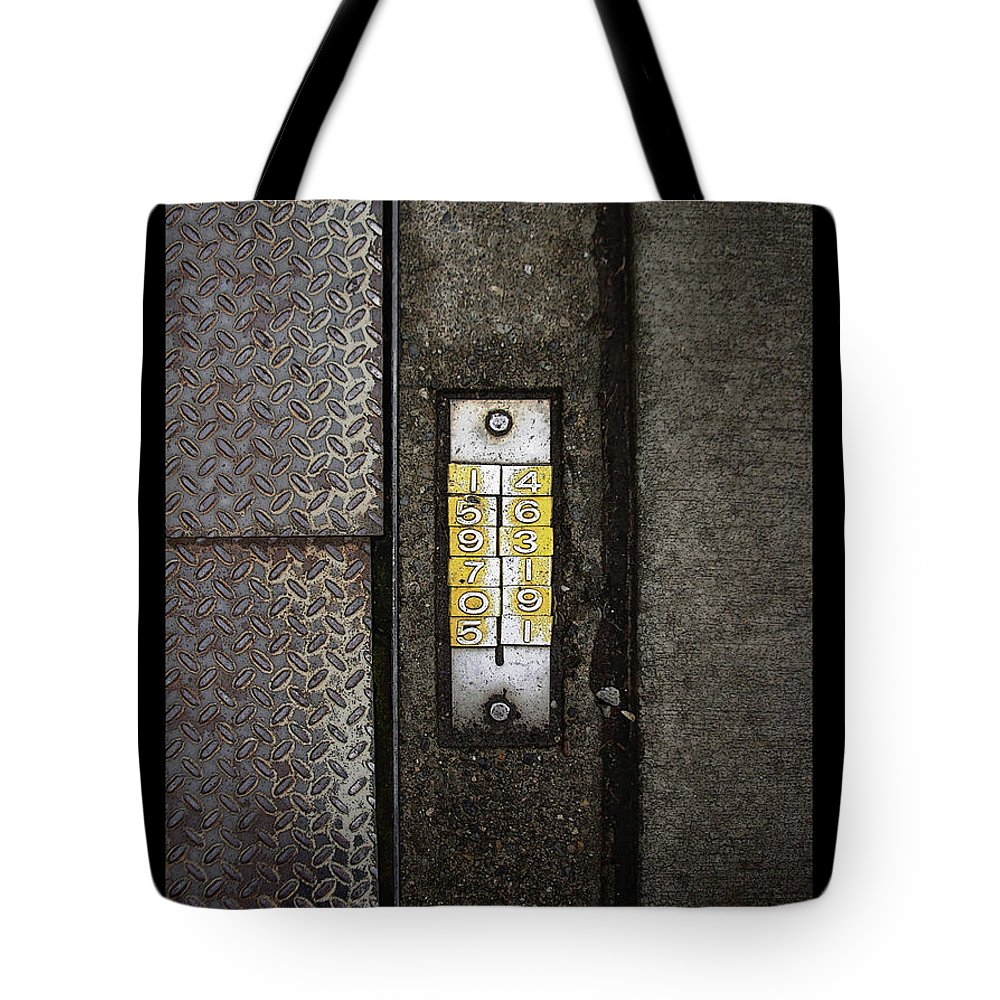 Numbers Tote Bag featuring the photograph Numbers On The Sidewalk by Tim Nyberg