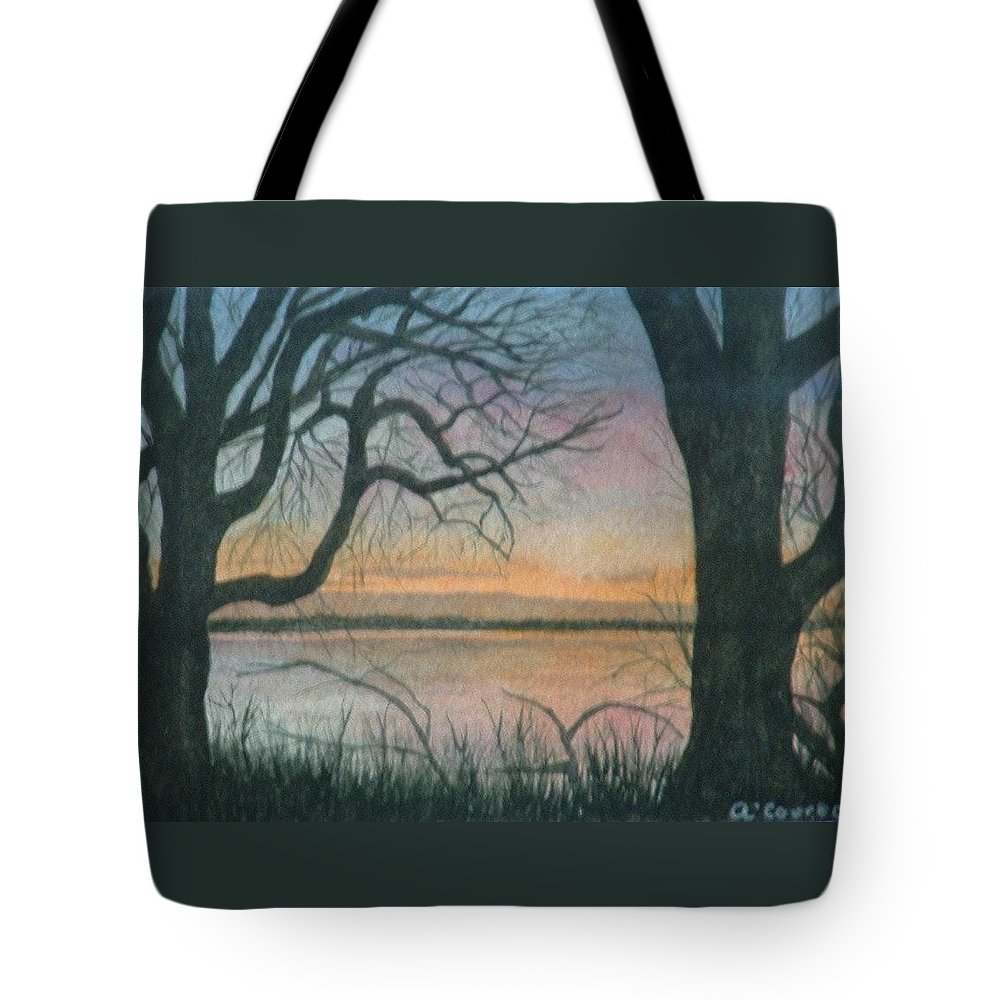 Landscape Tote Bag featuring the painting Nut Island by Lynn ACourt