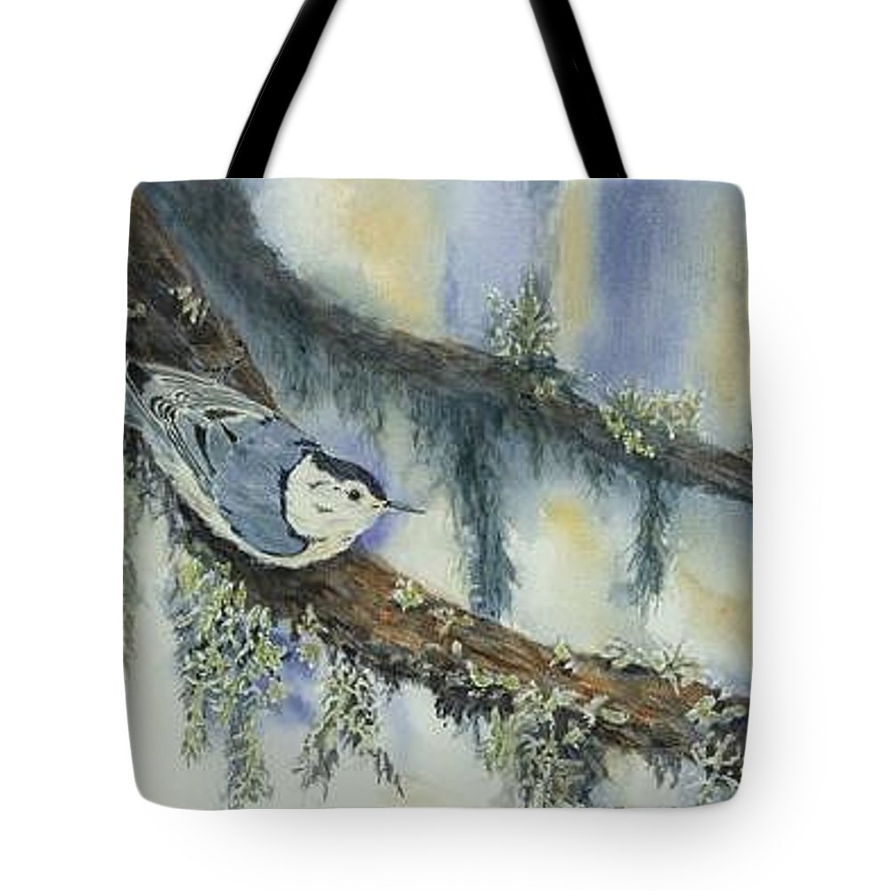 Nuthatch Tote Bag featuring the painting Nuthatch by Dolores Fegan