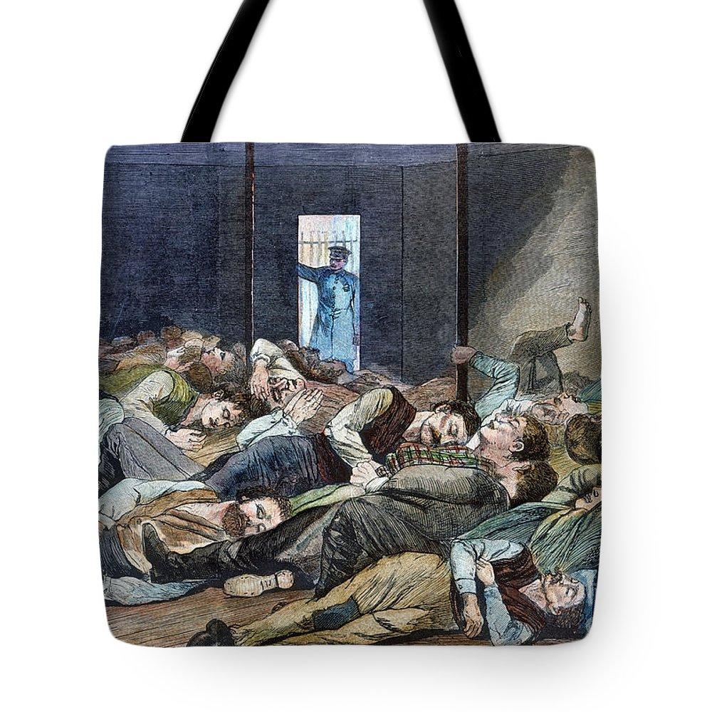 1874 Tote Bag featuring the photograph Nyc: Homeless, 1874 by Granger