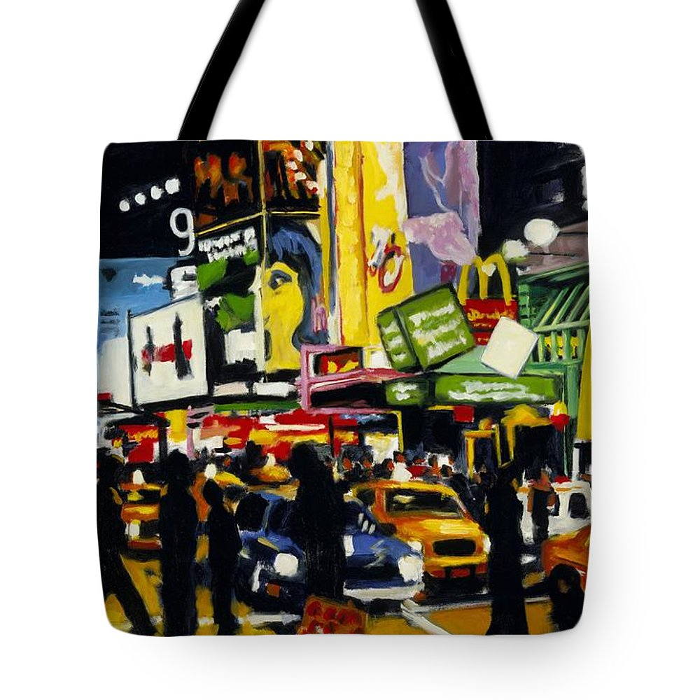New York Tote Bag featuring the painting Nyc II The Temple Of M by Robert Reeves