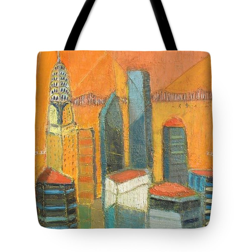 Tote Bag featuring the painting Nyc In Orange by Habib Ayat