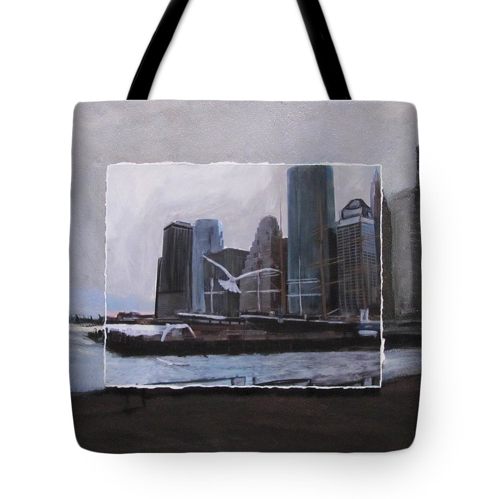 Nyc Tote Bag featuring the mixed media Nyc Pier 11 Layered by Anita Burgermeister