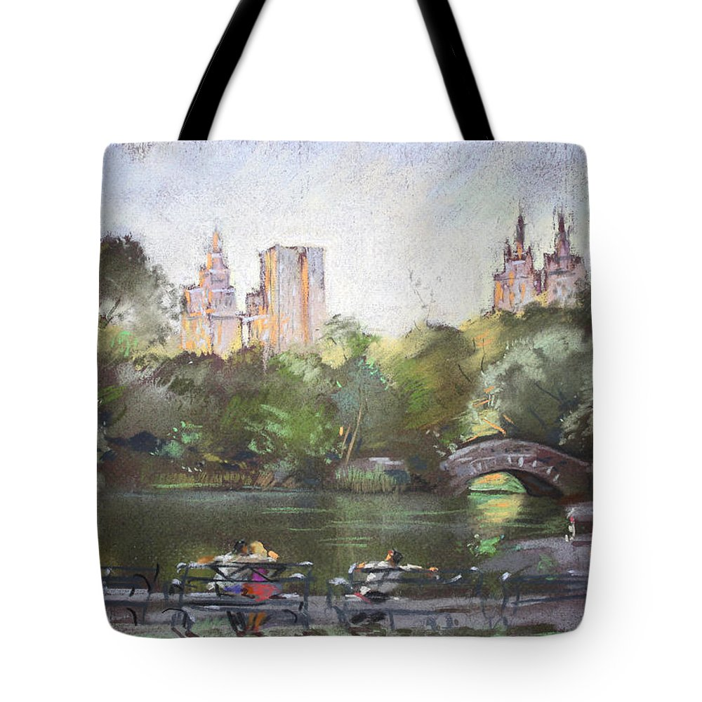 Ny City Tote Bag featuring the pastel Nyc Resting In Central Park by Ylli Haruni