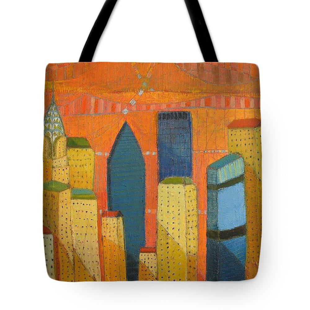 Abstract Cityscape Tote Bag featuring the painting Nyc With Chrysler by Habib Ayat