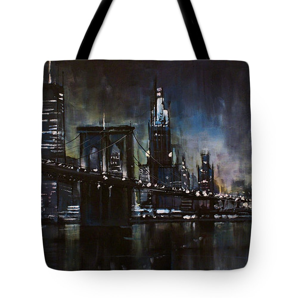Cityscape Tote Bag featuring the painting N.y.city by Michael Lang