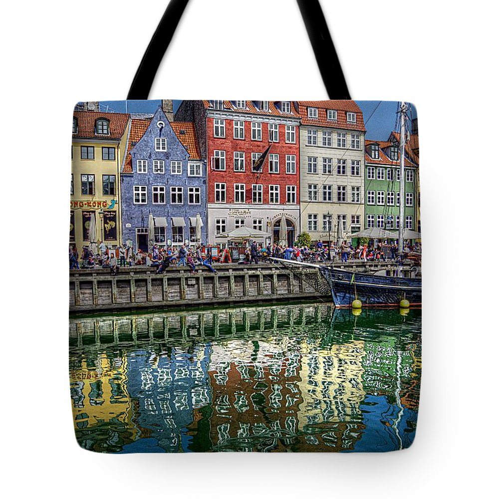 Colorful Reflections Tote Bag featuring the photograph Nyhavn Harbor Area, Copenhagen by Karen McKenzie McAdoo