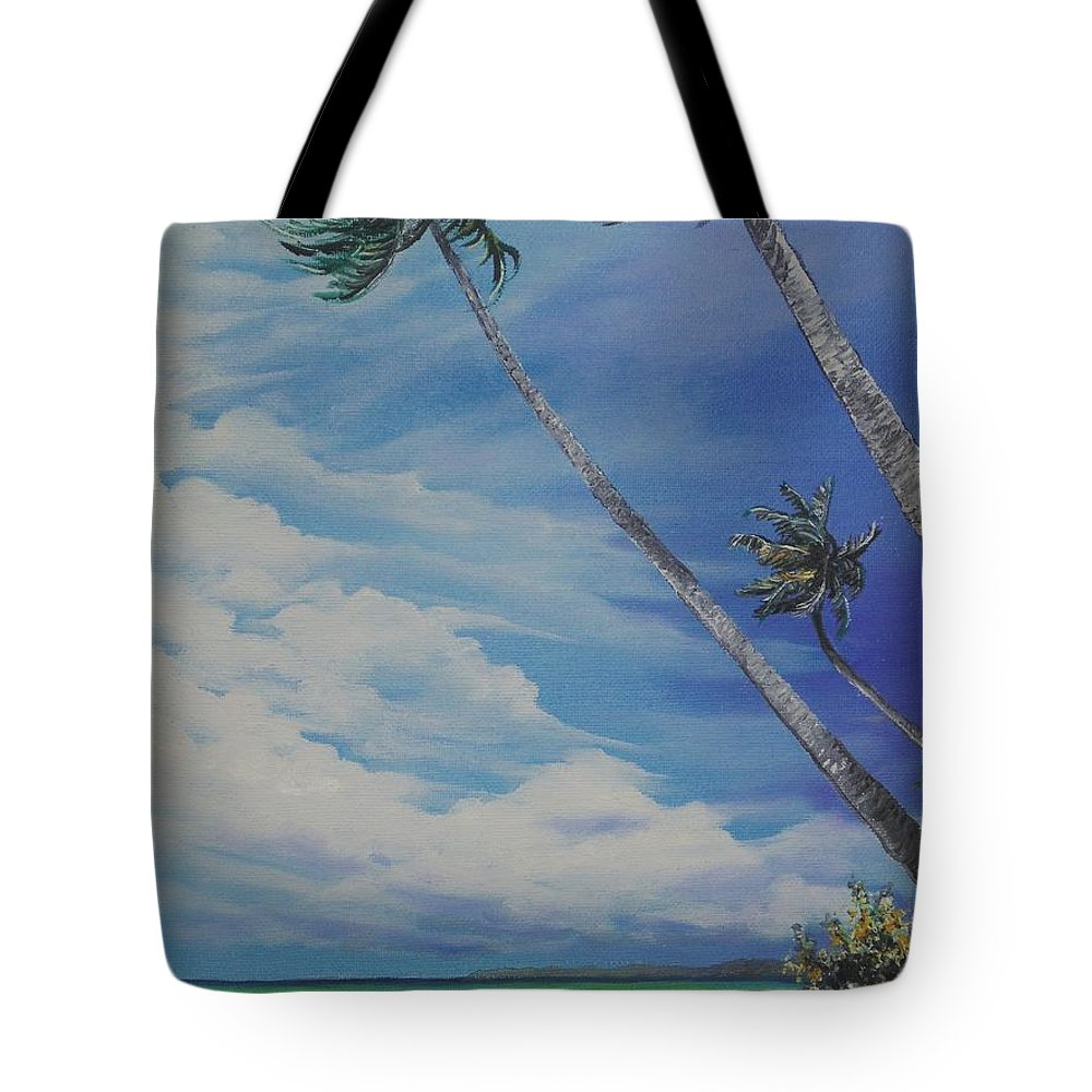 Trinidad And Tobago Seascape Tote Bag featuring the painting Nylon Pool Tobago. by Karin Dawn Kelshall- Best