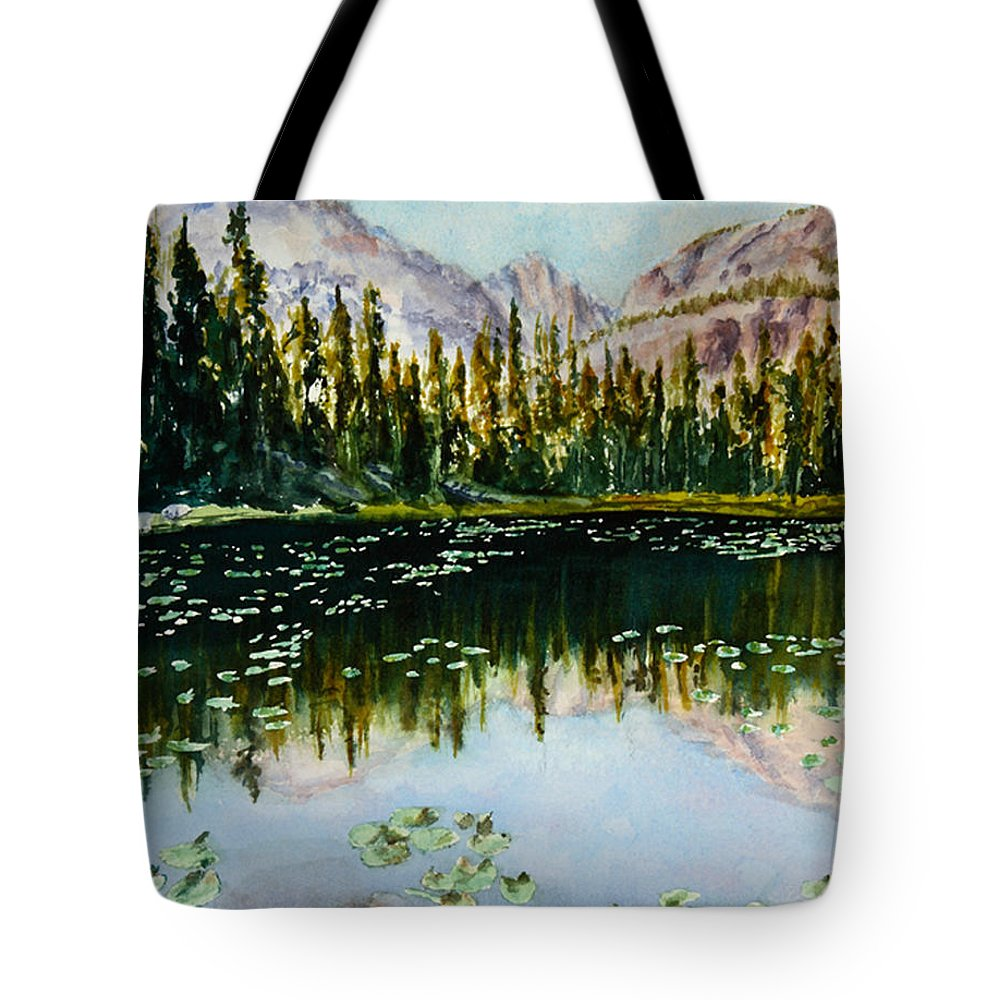 Nymph Lake Tote Bag featuring the painting Nymph Lake by Mary Benke