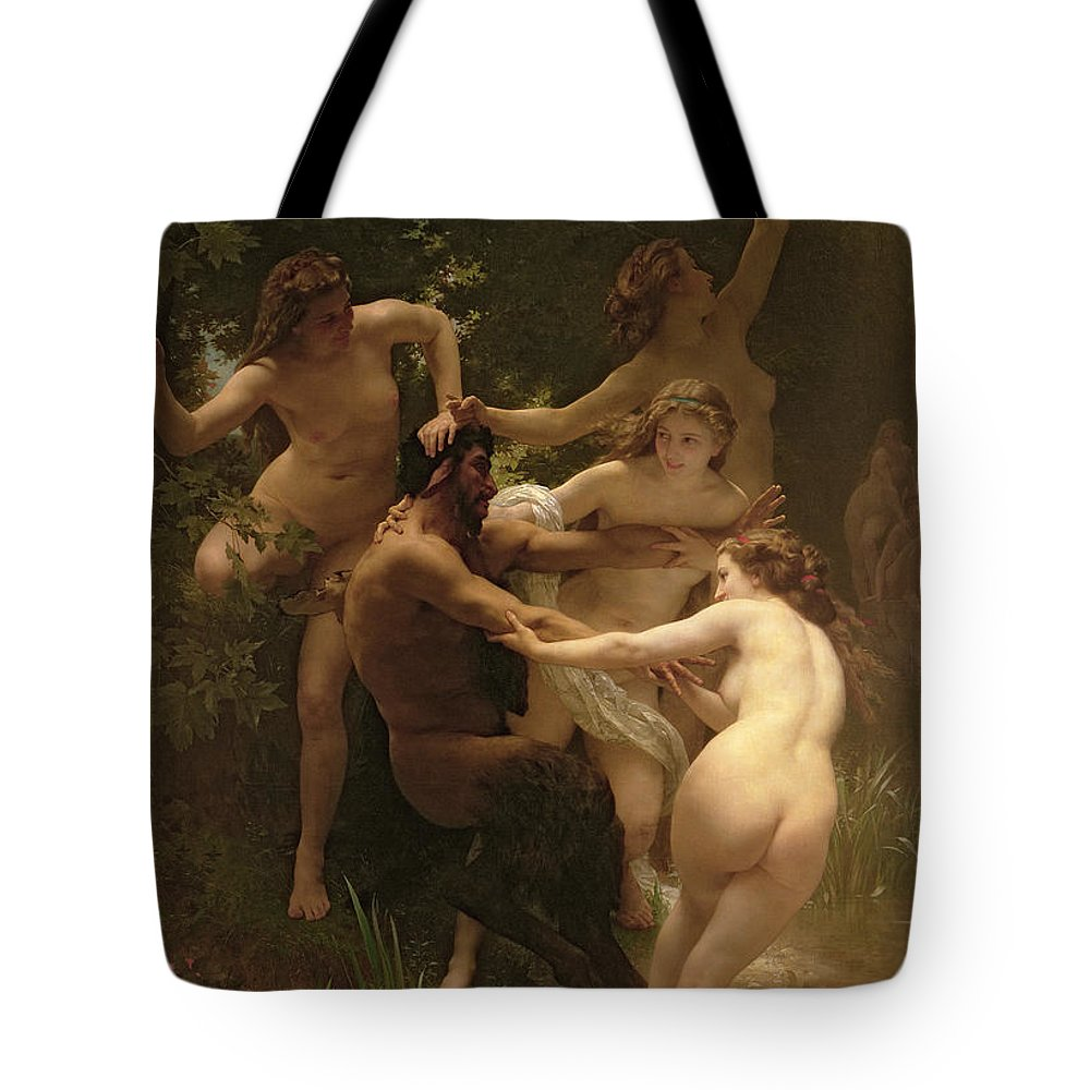 Nymphs And Satyr Tote Bag featuring the painting Nymphs And Satyr by William Adolphe Bouguereau