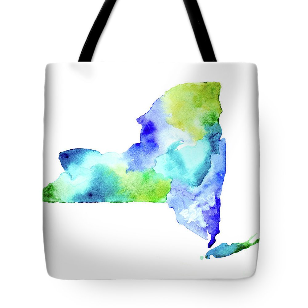 Nys Tote Bag featuring the painting New York State In Blue And Green by Tori Rodriguez