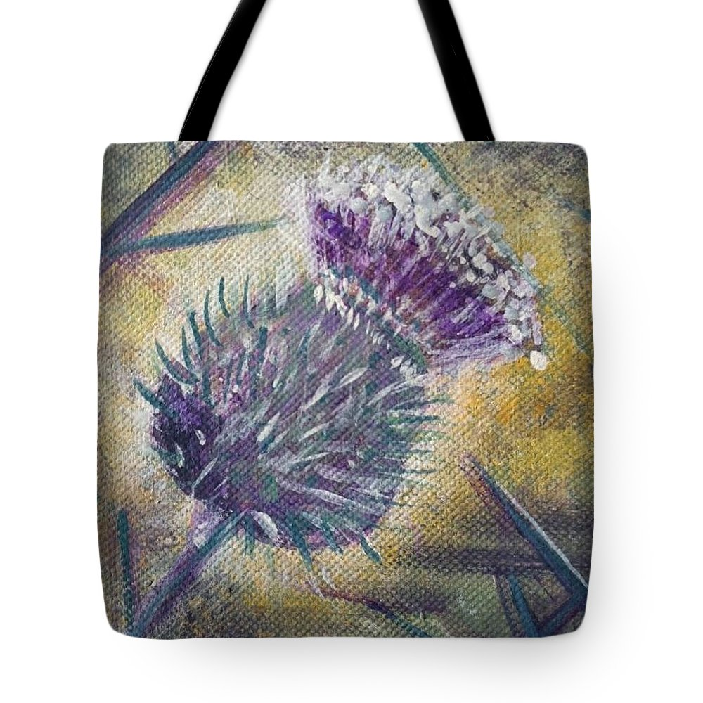 Thistle Tote Bag featuring the painting O' Flower Of Scotland by Jacqui Hawk