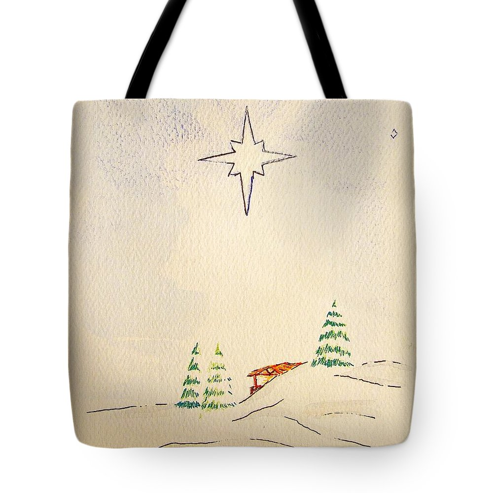 Christmas Card Tote Bag featuring the drawing O Holy Night by J R Seymour