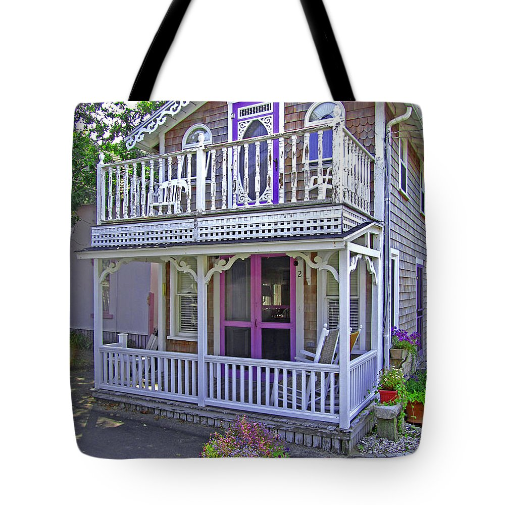 Oak Bluffs Gingerbread Cottages Tote Bag featuring the photograph Oak Bluffs Gingerbread Cottages 7 by Mark Sellers