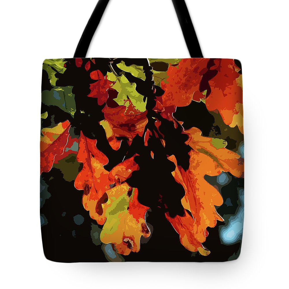 Oak Leaves Tote Bag featuring the photograph Oak Leaves In Autumn by James Hill
