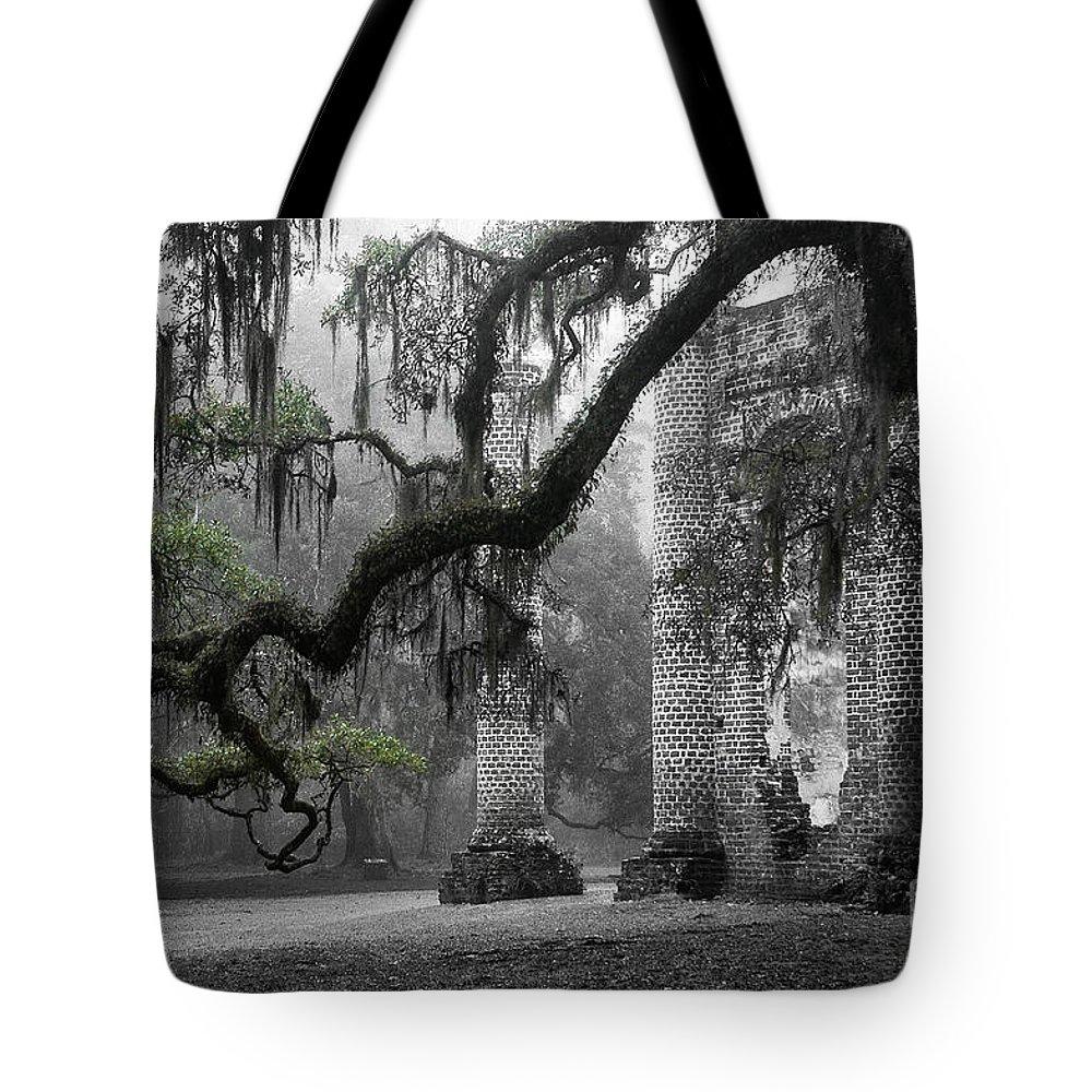 Old Sheldon Church Tote Bag featuring the photograph Oak Limb At Old Sheldon Church by Scott Hansen