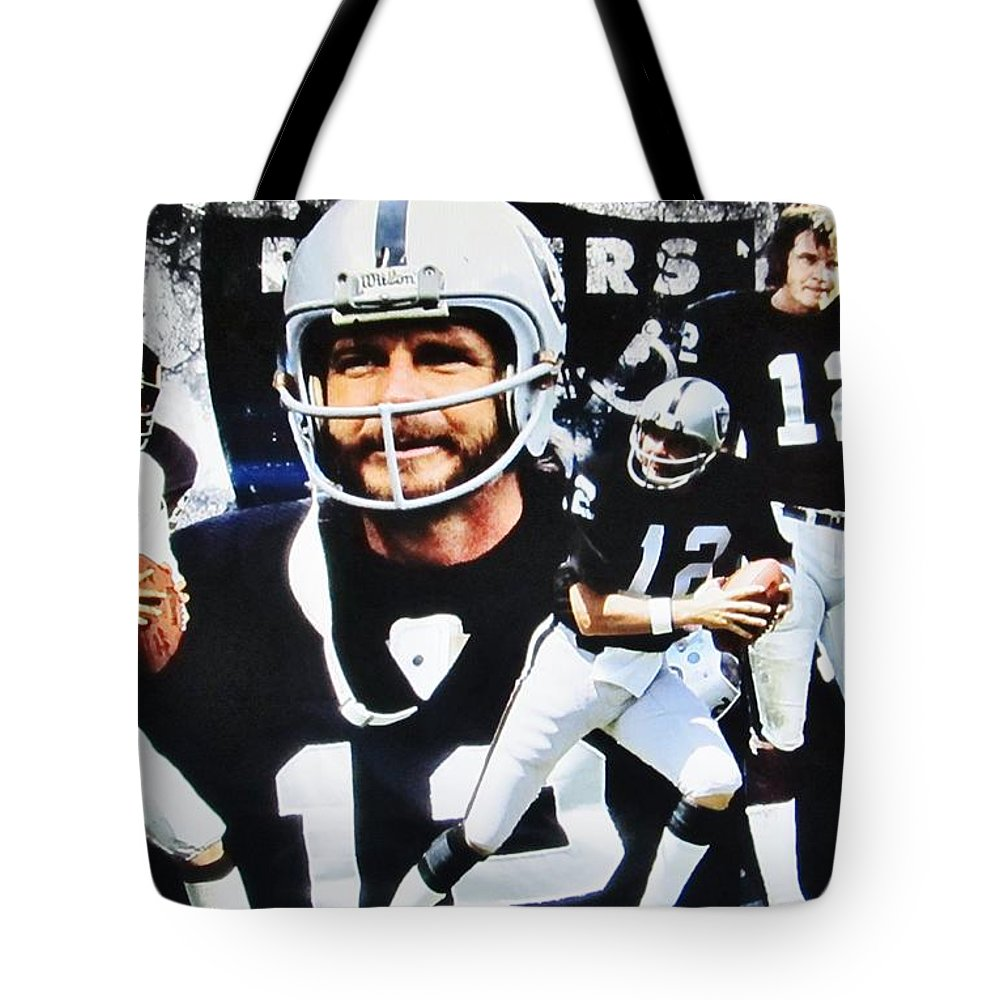 447dacebd Oakland Raiders Tote Bag featuring the photograph Oakland Raiders #12  Quarterback Kenny Stabler And Head
