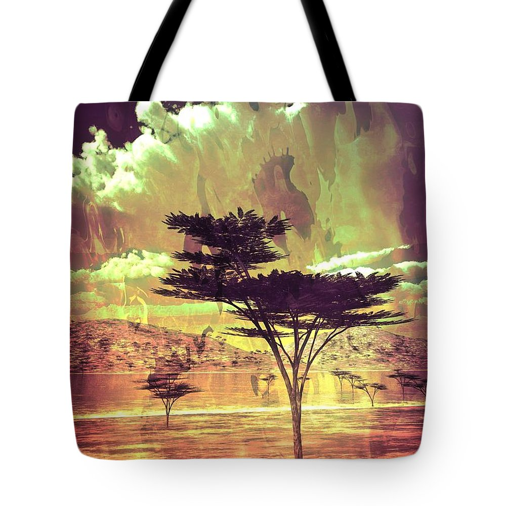 Tree Tote Bag featuring the digital art Oasis by Jay Salton