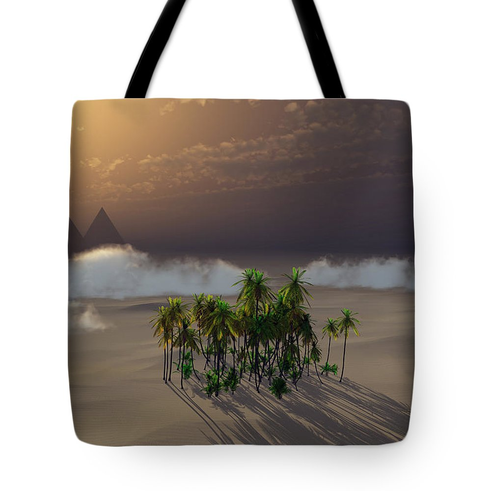 Deserts Tote Bag featuring the digital art Oasis by Richard Rizzo