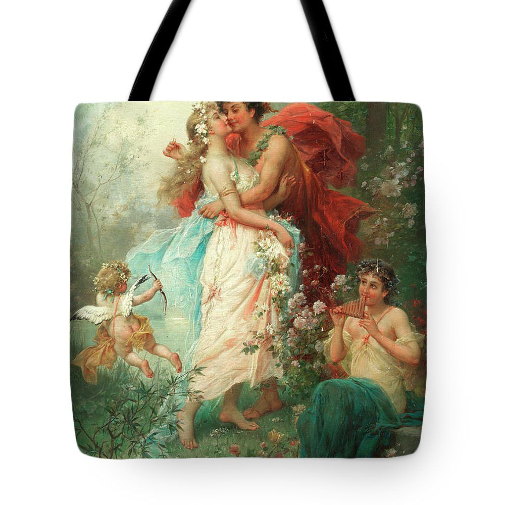 Oath Of Love Tote Bag featuring the painting Oath Of Love by Hans Zatzka