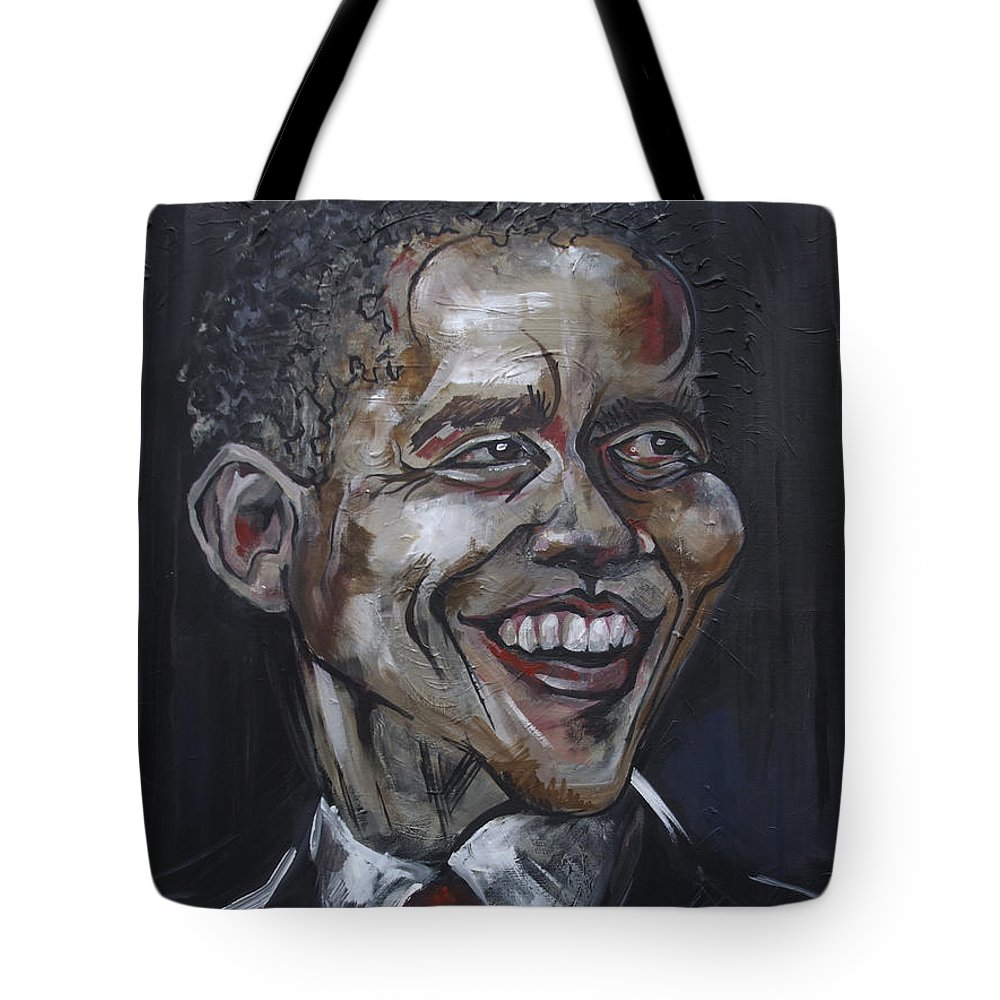 Barack Obama Tote Bag featuring the painting Obama by Julie Fischer