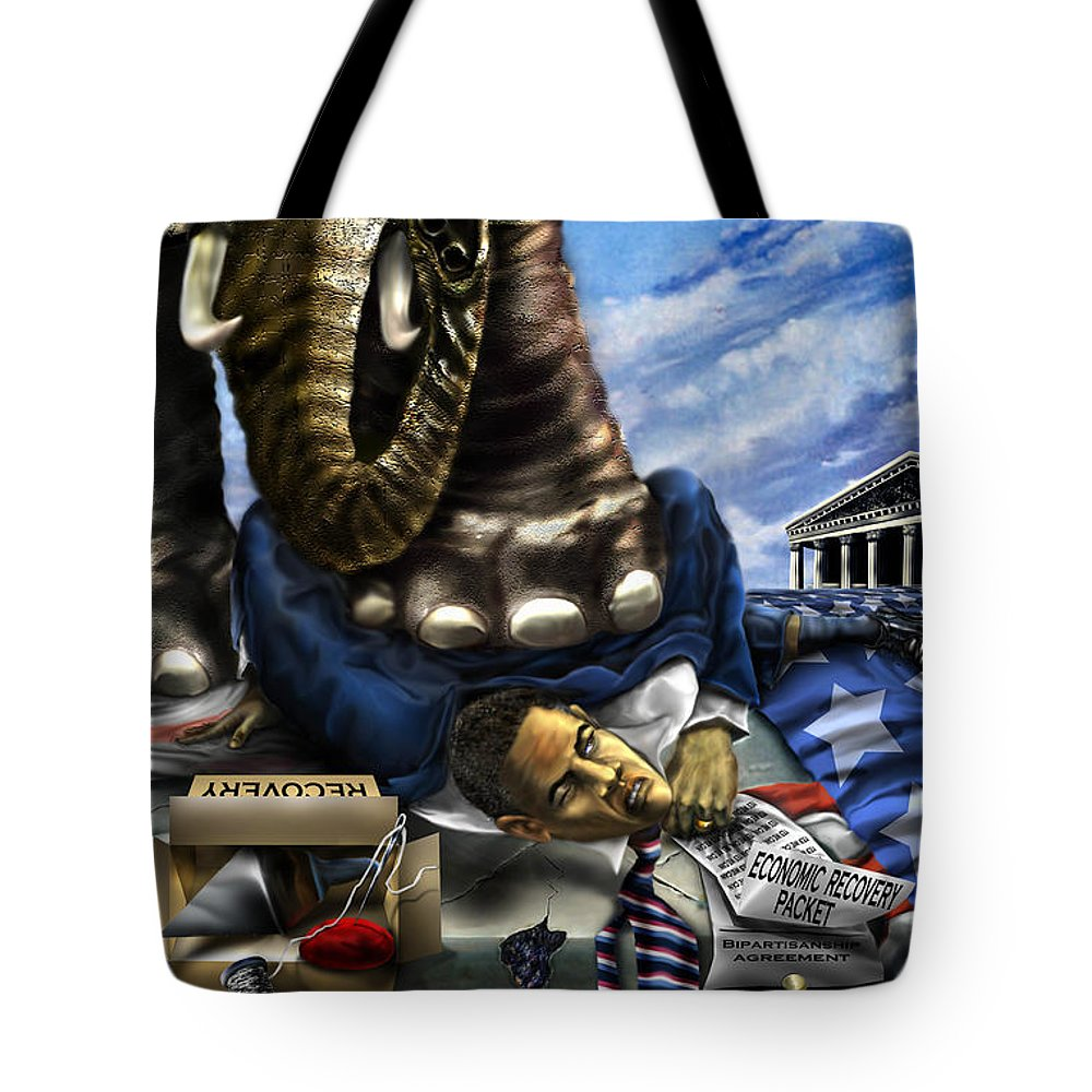 Political Satire Painting Tote Bag featuring the painting Obama by Reggie Duffie