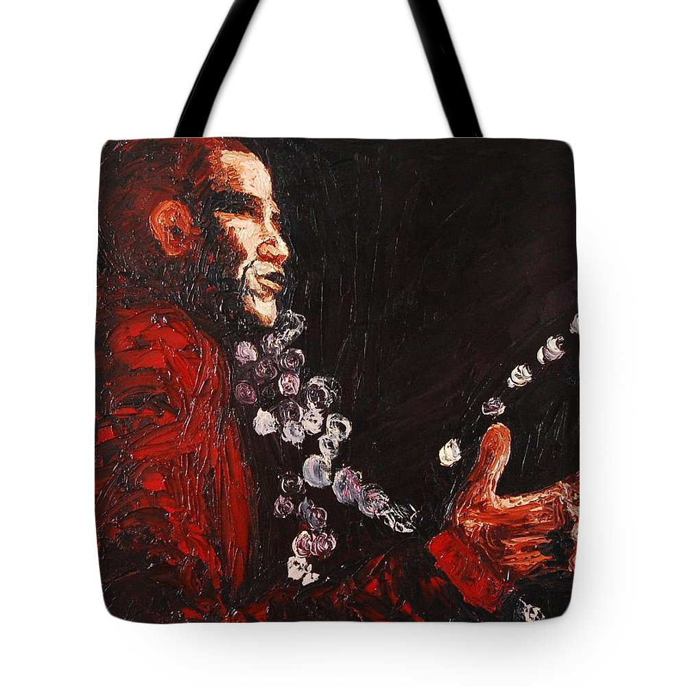 Barak Obama Tote Bag featuring the painting Obama Speaks We Listen by Lauren Luna