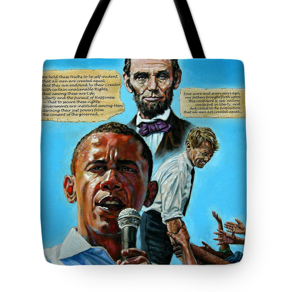 Obama Tote Bag featuring the painting Obamas Heritage by John Lautermilch