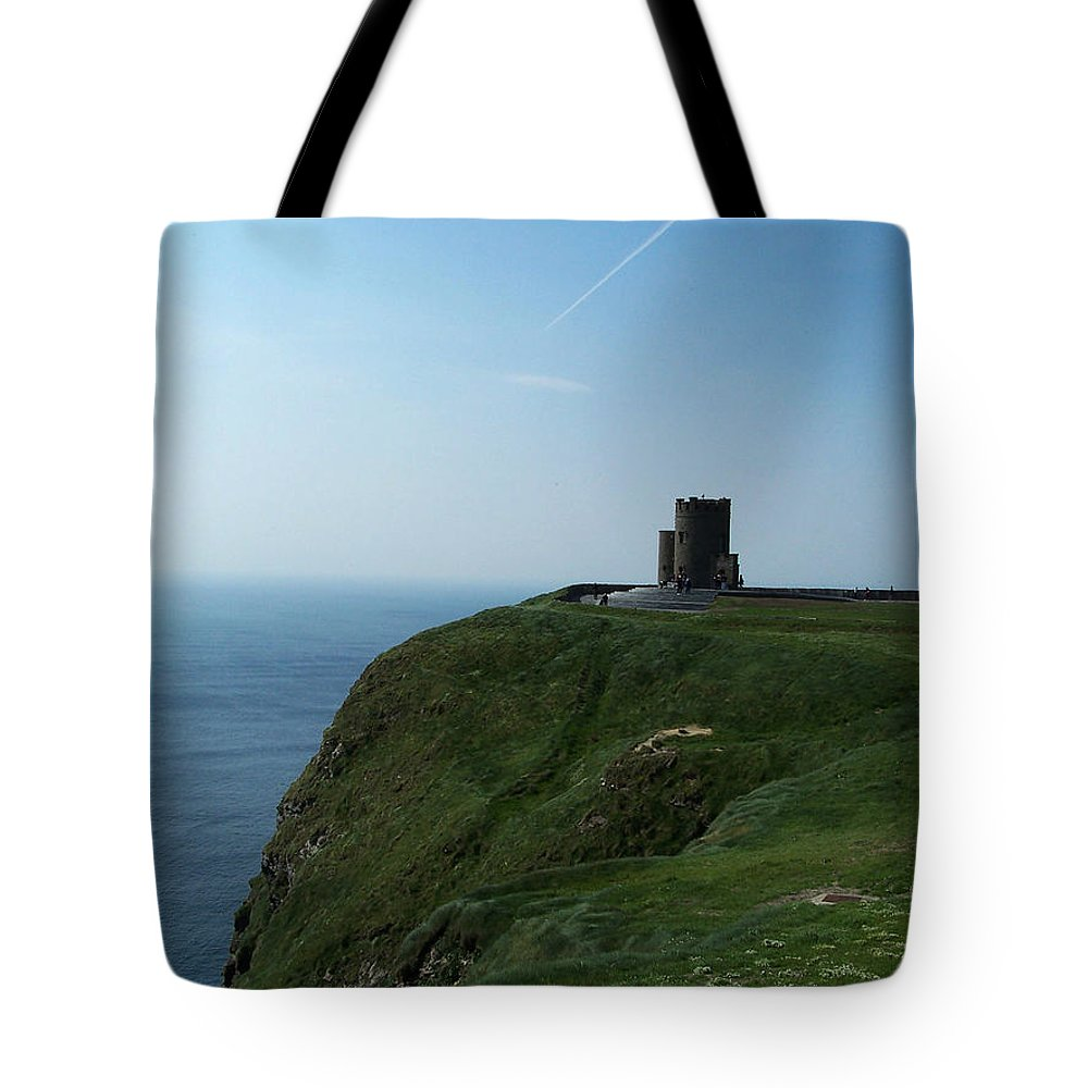 Irish Tote Bag featuring the photograph O'brien's Tower At The Cliffs Of Moher Ireland by Teresa Mucha