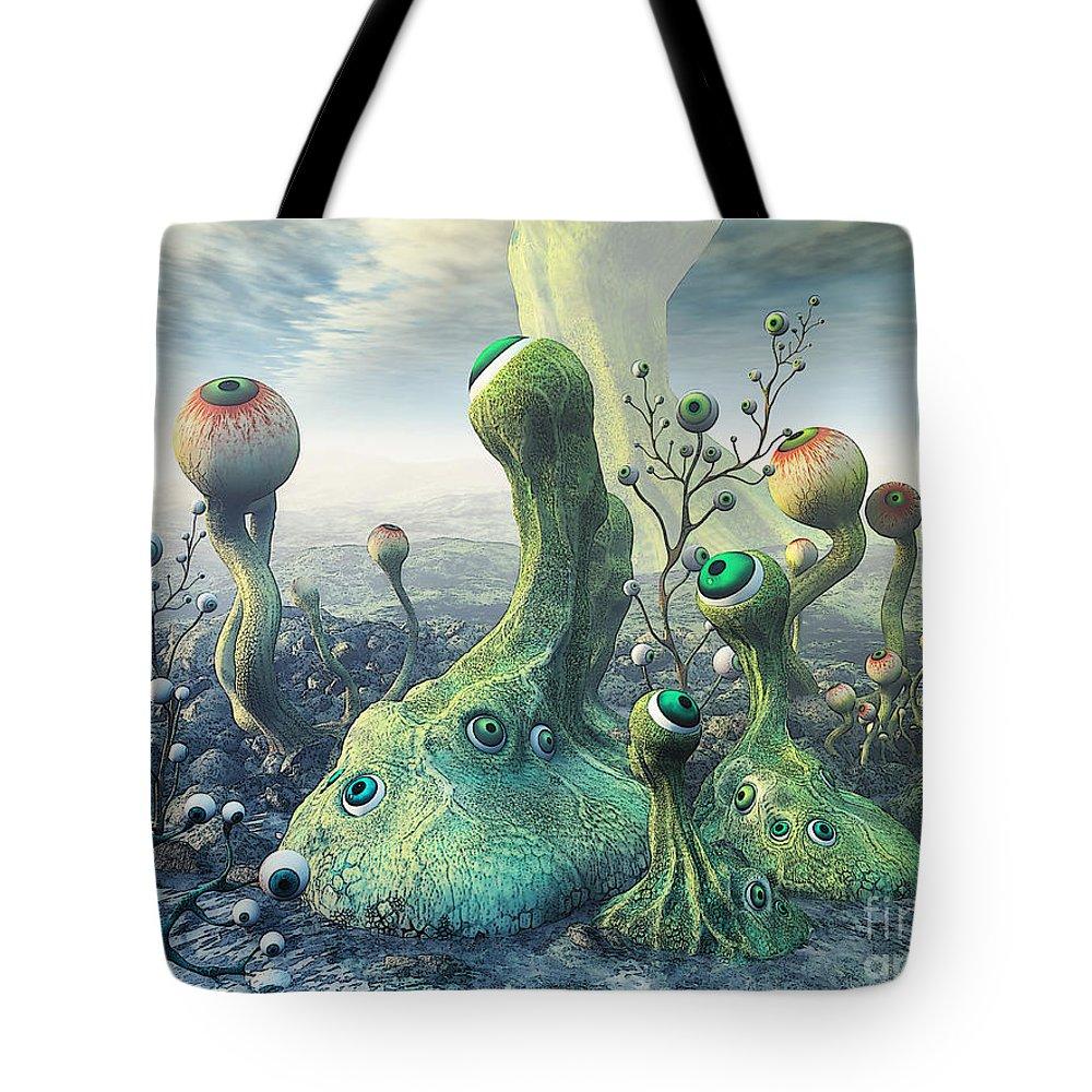3d Tote Bag featuring the digital art Observation by Jutta Maria Pusl